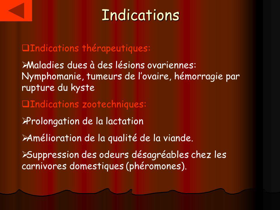 Indications Indications thérapeutiques: Maladies dues à des lésions ovariennes: Nymphomanie, tumeurs de lovaire, hémorragie par rupture du kyste Indications zootechniques: Prolongation de la lactation Amélioration de la qualité de la viande.