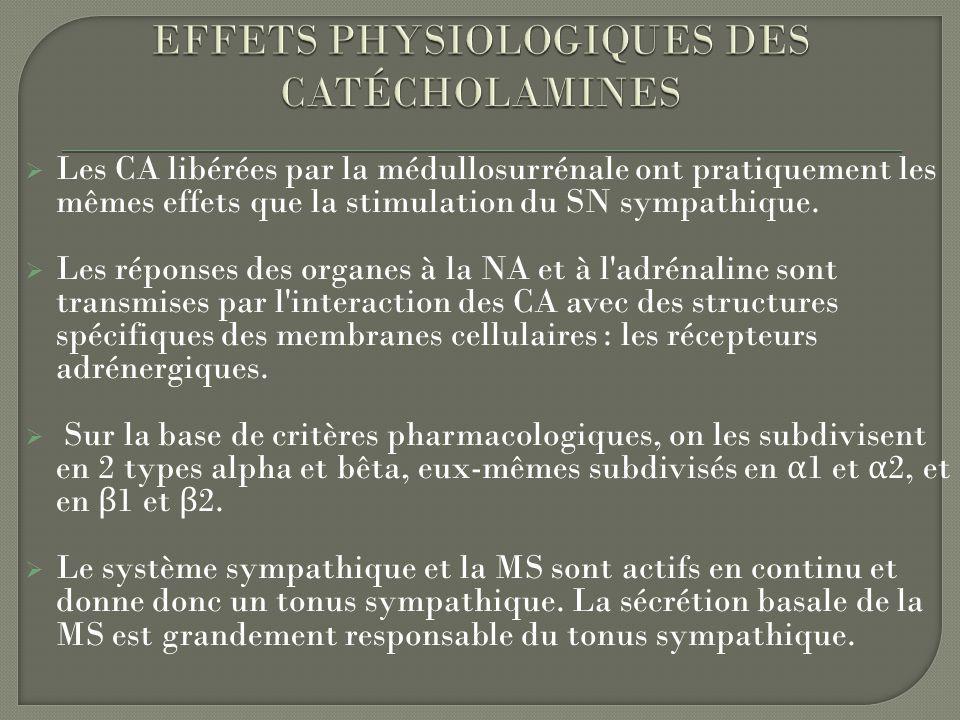 Les CA libérées par la médullosurrénale ont pratiquement les mêmes effets que la stimulation du SN sympathique. Les réponses des organes à la NA et à
