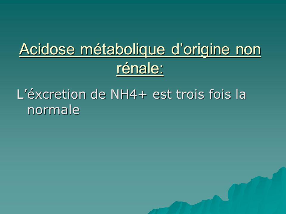 Acidose métabolique dorigine non rénale: Léxcretion de NH4+ est trois fois la normale