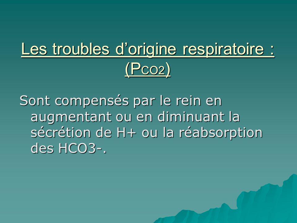 Les troubles dorigine respiratoire : (P CO2 ) Sont compensés par le rein en augmentant ou en diminuant la sécrétion de H+ ou la réabsorption des HCO3-