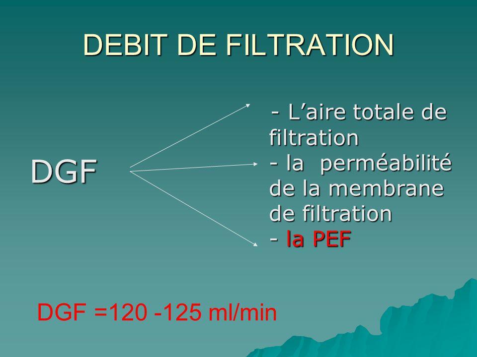 DEBIT DE FILTRATION DGF - Laire totale de filtration - la perméabilité de la membrane de filtration - la PEF - Laire totale de filtration - la perméab