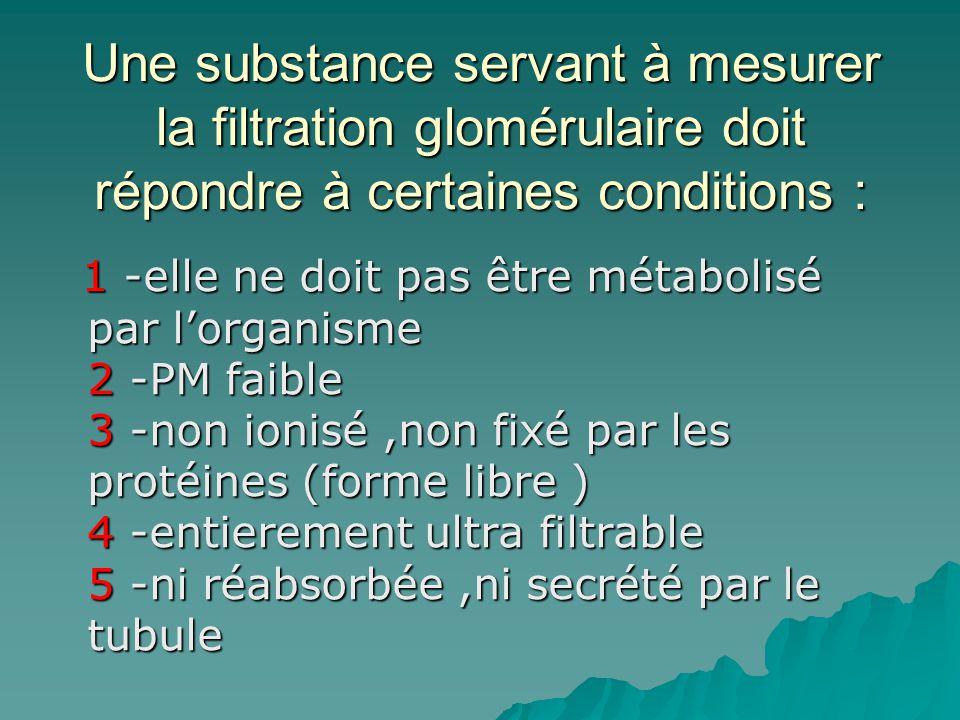 Une substance servant à mesurer la filtration glomérulaire doit répondre à certaines conditions : 1 -elle ne doit pas être métabolisé par lorganisme 2