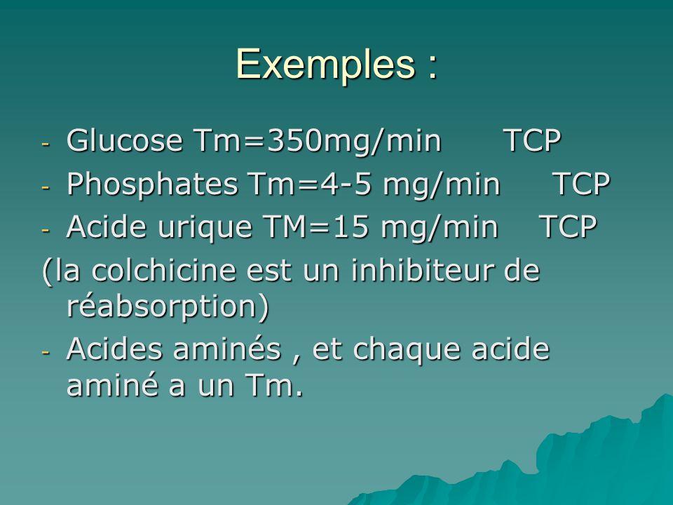 Exemples : - Glucose Tm=350mg/min TCP - Phosphates Tm=4-5 mg/min TCP - Acide urique TM=15 mg/min TCP (la colchicine est un inhibiteur de réabsorption)