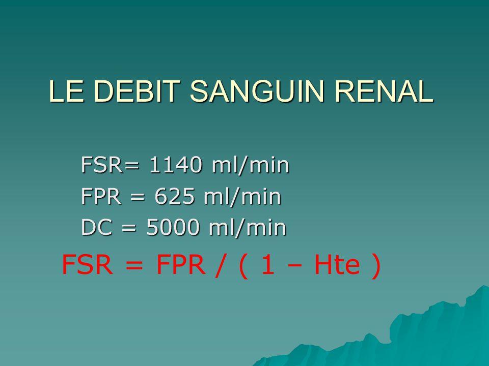 FSR= 1140 ml/min FPR = 625 ml/min DC = 5000 ml/min FSR = FPR / ( 1 – Hte ) LE DEBIT SANGUIN RENAL