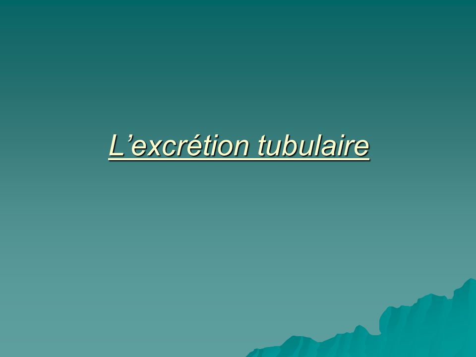 Lexcrétion tubulaire