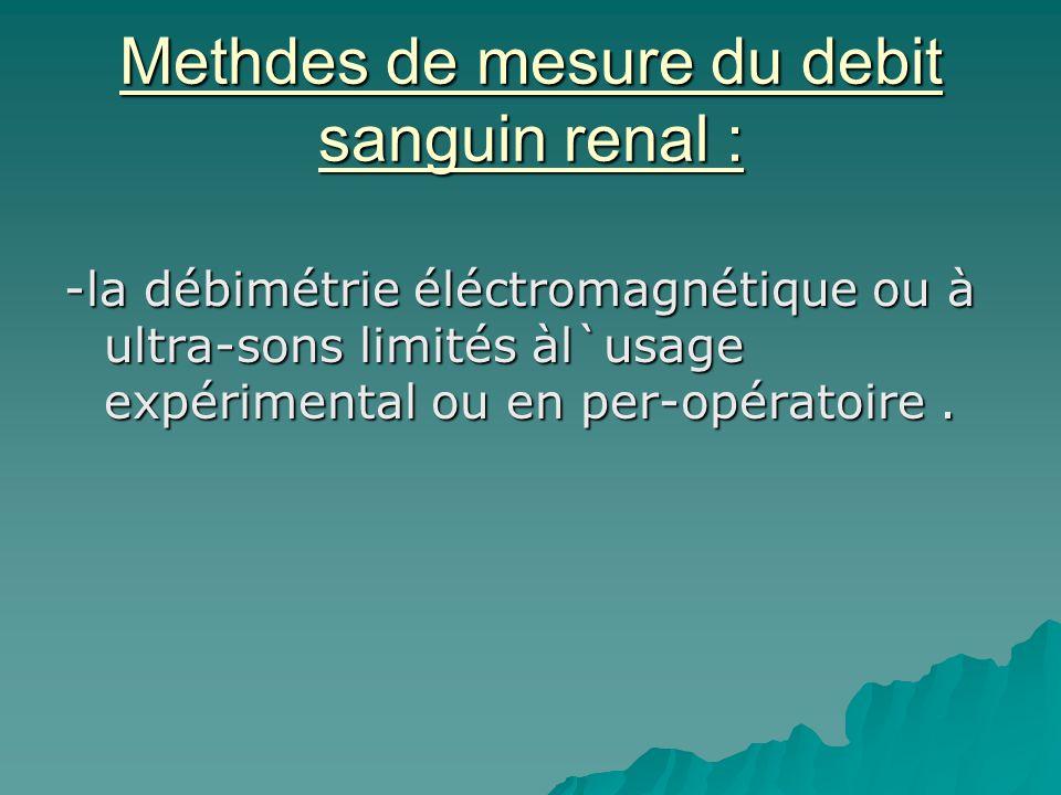 Methdes de mesure du debit sanguin renal : -la débimétrie éléctromagnétique ou à ultra-sons limités àl`usage expérimental ou en per-opératoire.