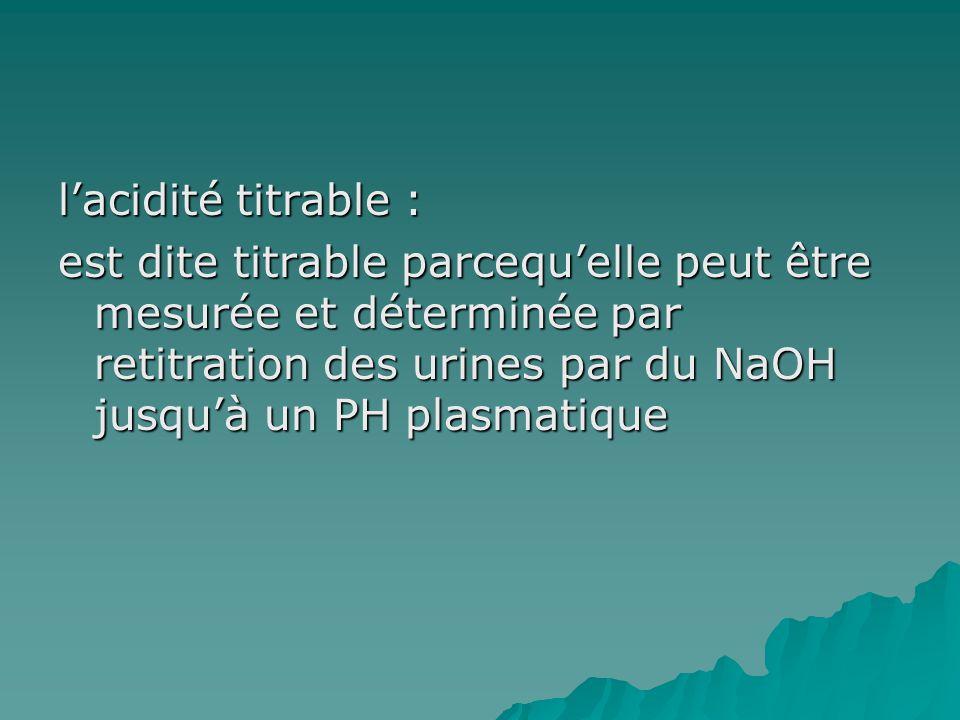 lacidité titrable : est dite titrable parcequelle peut être mesurée et déterminée par retitration des urines par du NaOH jusquà un PH plasmatique