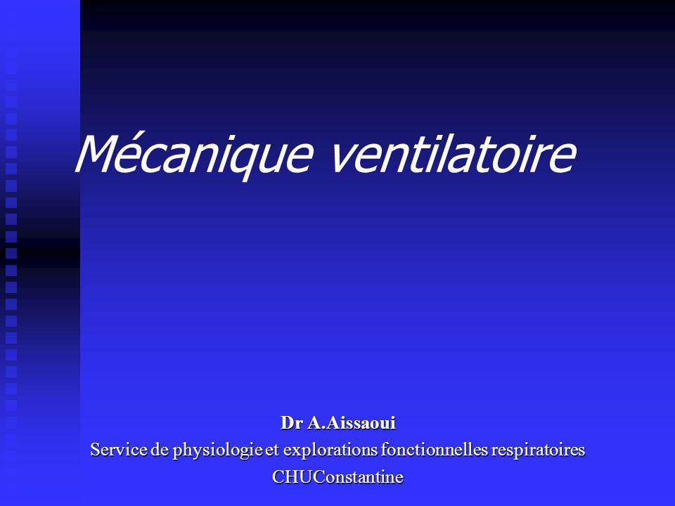 Mécanique ventilatoire Dr A.Aissaoui Service de physiologie et explorations fonctionnelles respiratoires CHUConstantine