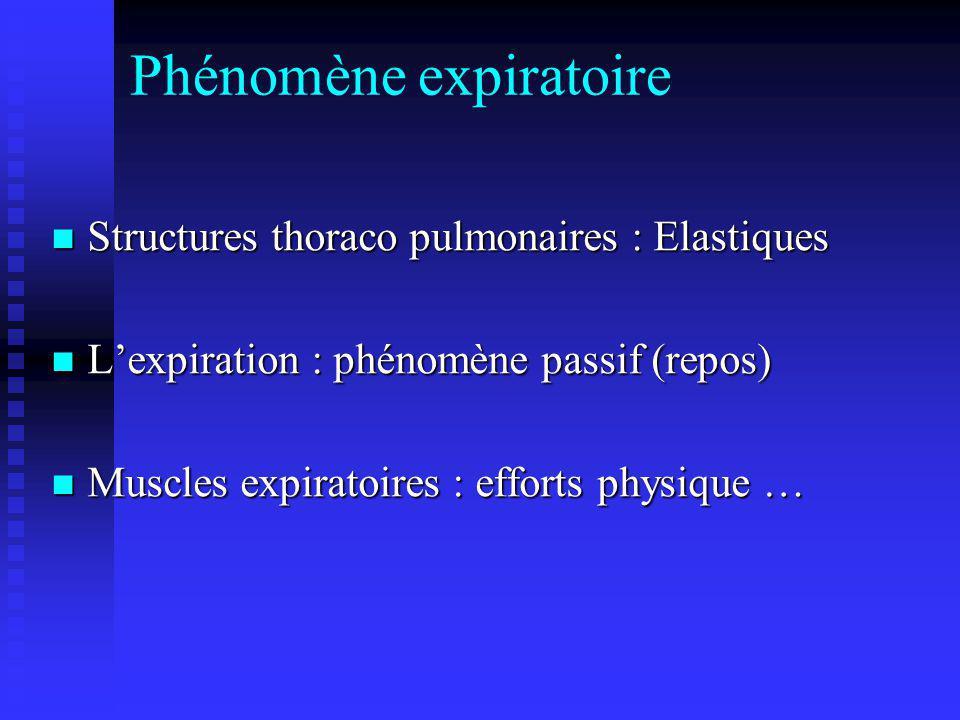 Phénomène expiratoire Structures thoraco pulmonaires : Elastiques Structures thoraco pulmonaires : Elastiques Lexpiration : phénomène passif (repos) L