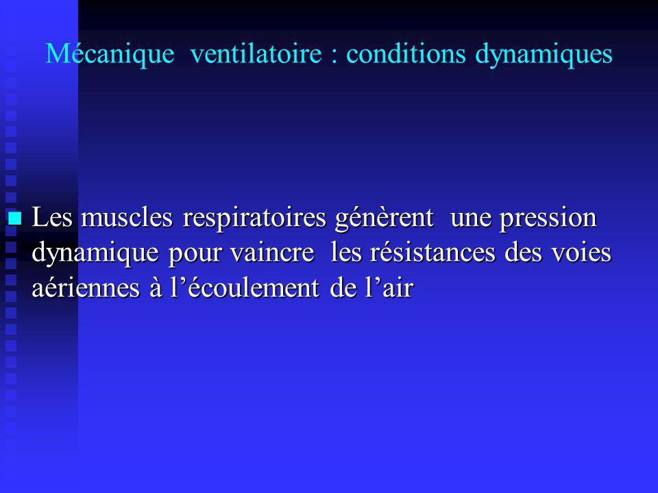 Mécanique ventilatoire : conditions dynamiques Les muscles respiratoires génèrent une pression dynamique pour vaincre les résistances des voies aérien