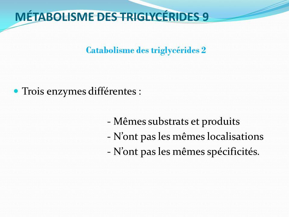 MÉTABOLISME DES TRIGLYCÉRIDES 9 Catabolisme des triglycérides 2 Trois enzymes différentes : - Mêmes substrats et produits - Nont pas les mêmes localisations - Nont pas les mêmes spécificités.