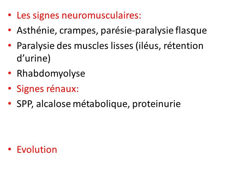 Les signes neuromusculaires: Asthénie, crampes, parésie-paralysie flasque Paralysie des muscles lisses (iléus, rétention durine) Rhabdomyolyse Signes
