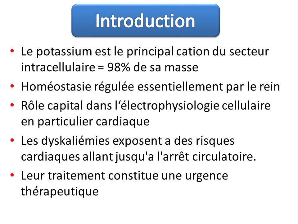 Le potassium est le principal cation du secteur intracellulaire = 98% de sa masse Homéostasie régulée essentiellement par le rein Rôle capital dans lé