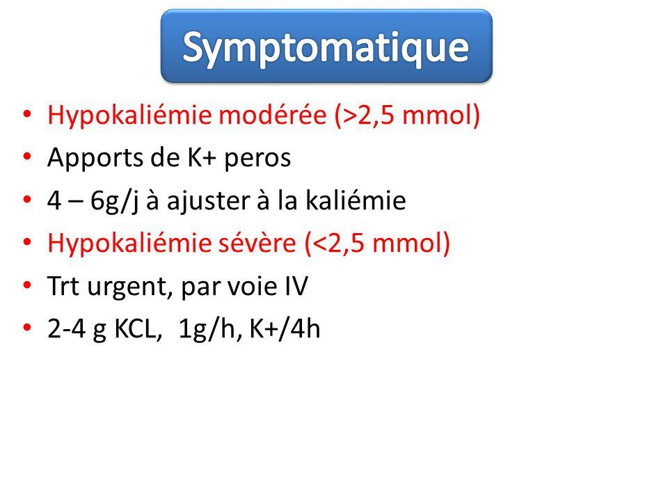 Hypokaliémie modérée (>2,5 mmol) Apports de K+ peros 4 – 6g/j à ajuster à la kaliémie Hypokaliémie sévère (<2,5 mmol) Trt urgent, par voie IV 2-4 g KC