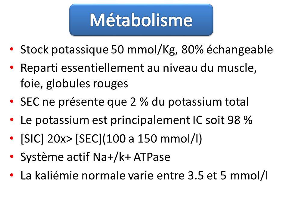 Stock potassique 50 mmol/Kg, 80% échangeable Reparti essentiellement au niveau du muscle, foie, globules rouges SEC ne présente que 2 % du potassium t