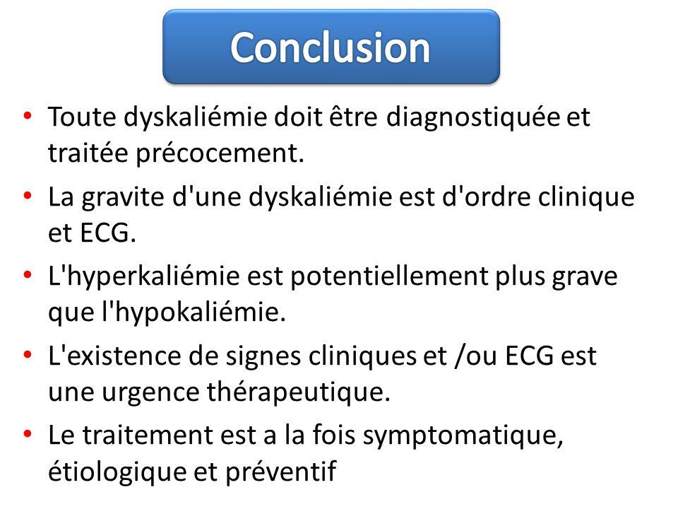 Toute dyskaliémie doit être diagnostiquée et traitée précocement. La gravite d'une dyskaliémie est d'ordre clinique et ECG. L'hyperkaliémie est potent