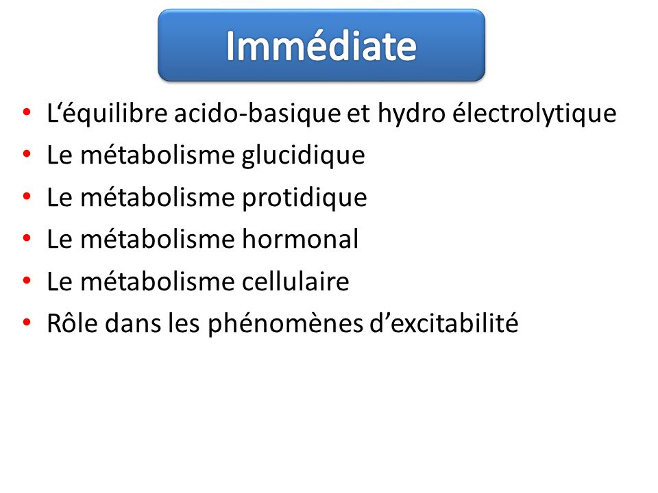 Léquilibre acido-basique et hydro électrolytique Le métabolisme glucidique Le métabolisme protidique Le métabolisme hormonal Le métabolisme cellulaire
