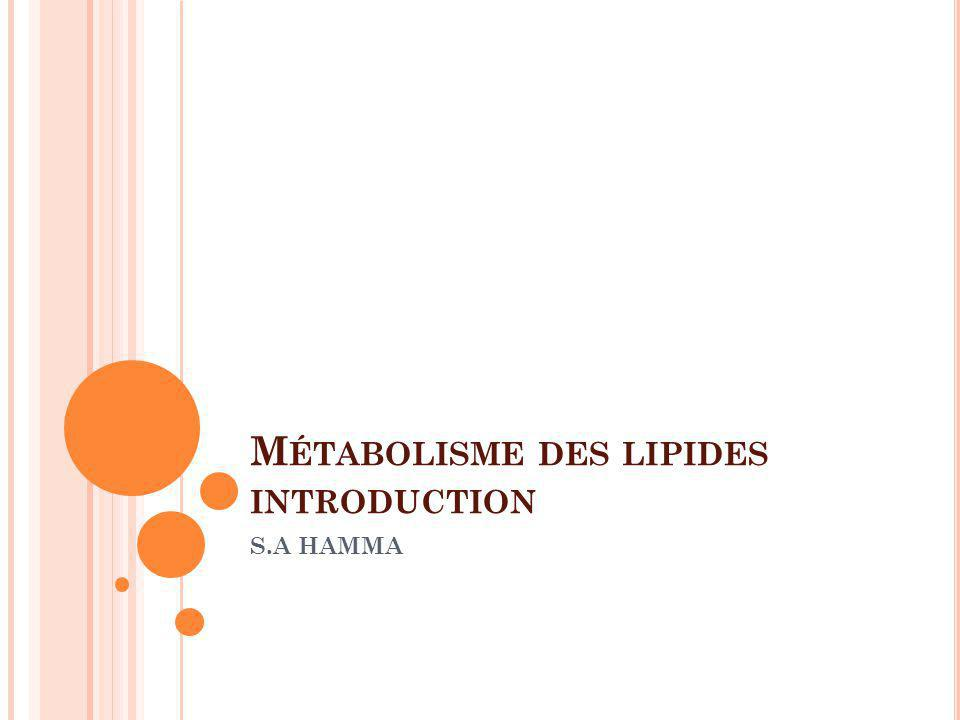M ÉTABOLISME DES LIPIDES INTRODUCTION S.A HAMMA