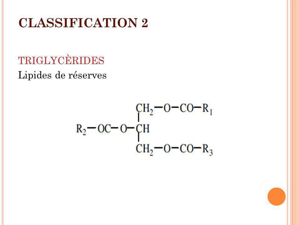 CLASSIFICATION 3 GLYCÈROPHOSPHOLIPIDES Constituants de la membrane cellulaire X= Alcool: Ethanolamine, choline, sérine, inositol, Glycérol, phosphatidylglycérol.