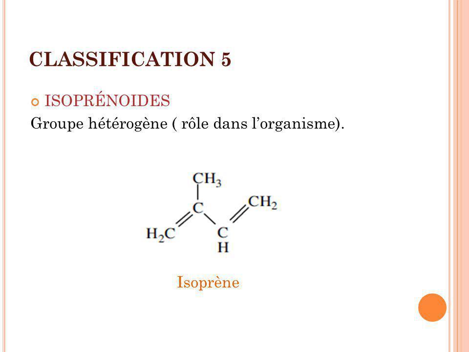 CLASSIFICATION 6 ISOPRÉNOIDES TERP É NES - VIT LIPOSOLUBLES A,D,E, K ST É ROÏDES (sterane) - CHOLESTEROL