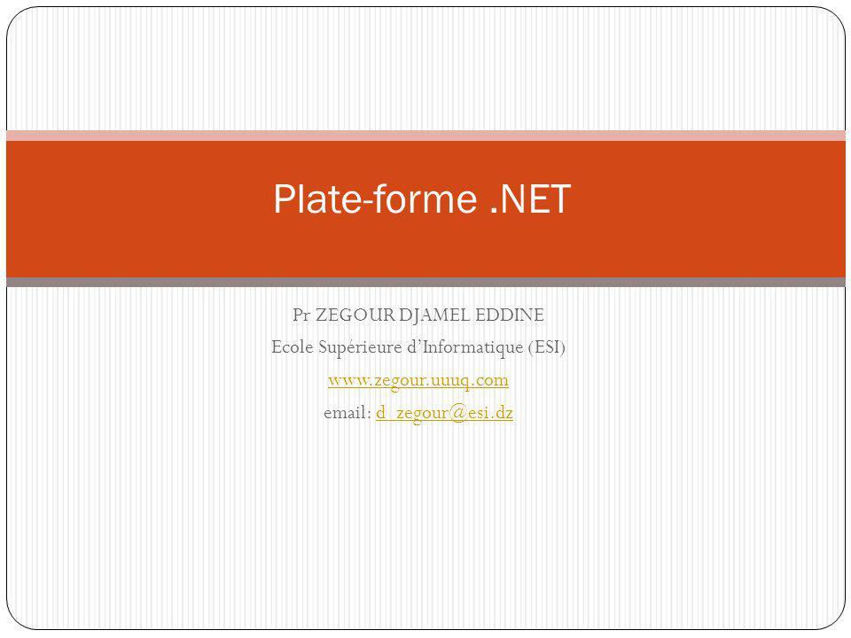 Pr ZEGOUR DJAMEL EDDINE Ecole Supérieure dInformatique (ESI) www.zegour.uuuq.com email: d_zegour@esi.dzd_zegour@esi.dz Plate-forme.NET