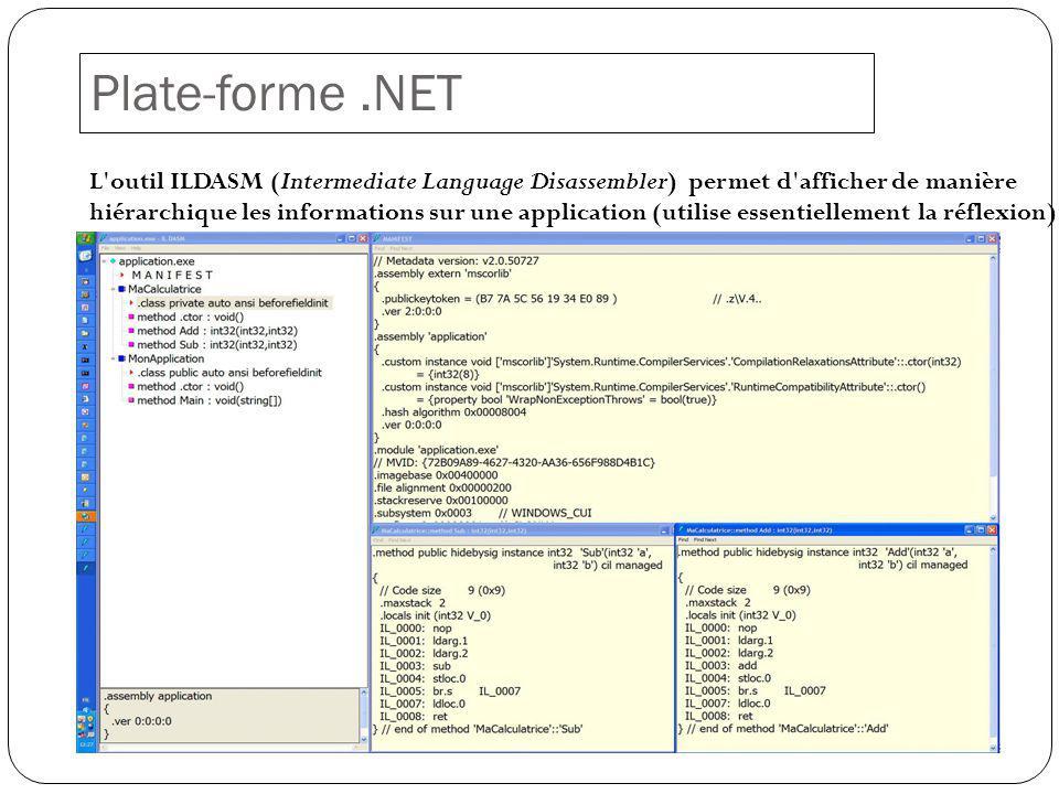 Plate-forme.NET L outil ILDASM (Intermediate Language Disassembler) permet d afficher de manière hiérarchique les informations sur une application (utilise essentiellement la réflexion)