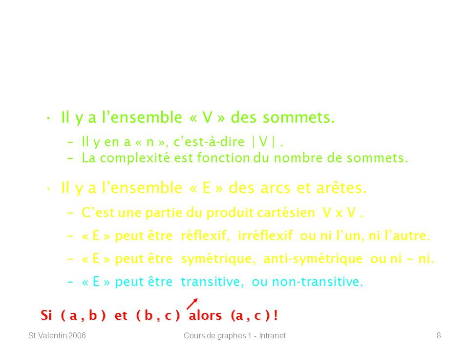 St Valentin 2006Cours de graphes 1 - Intranet59 Connexité – plus courts chemins ----------------------------------------------------------------- Connexité Plus courts Plus légers La vague MultiplicationFloyd-Warshall (   E   ) = (   E   ) = O (   V  ^2 ) O (   V  ^2 ) (   V  ^3 * (   V  ^3 * log(   V   ) ) log(   V   ) ) (   V  ^3 ) (   V  ^3 )