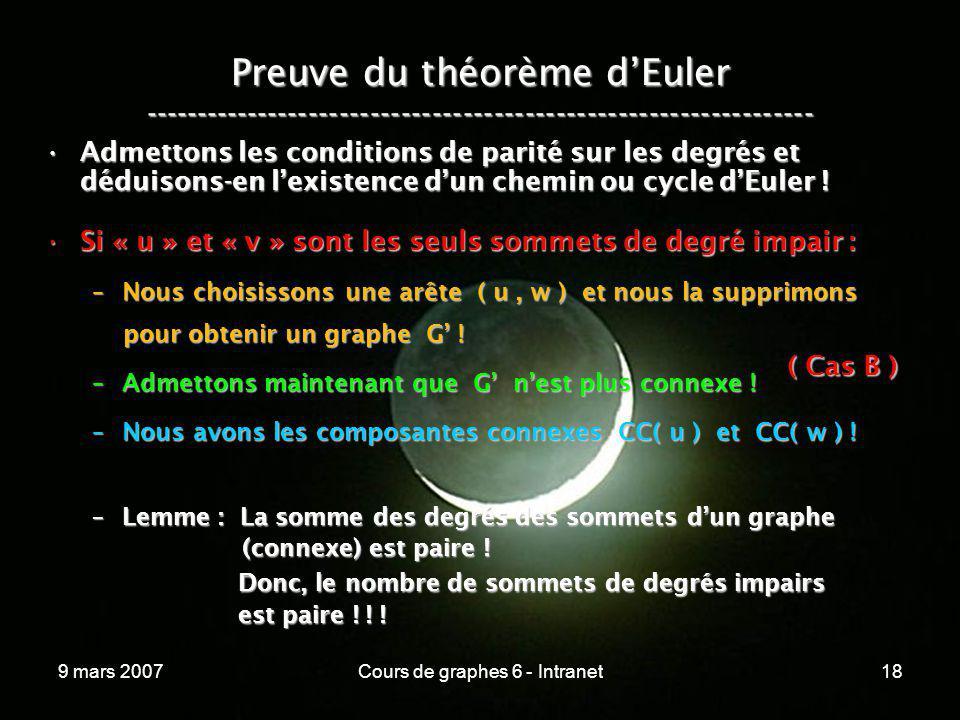 9 mars 2007Cours de graphes 6 - Intranet18 Preuve du théorème dEuler ----------------------------------------------------------------- Admettons les c