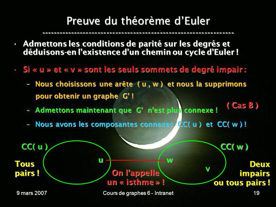 9 mars 2007Cours de graphes 6 - Intranet19 Preuve du théorème dEuler ----------------------------------------------------------------- Admettons les c