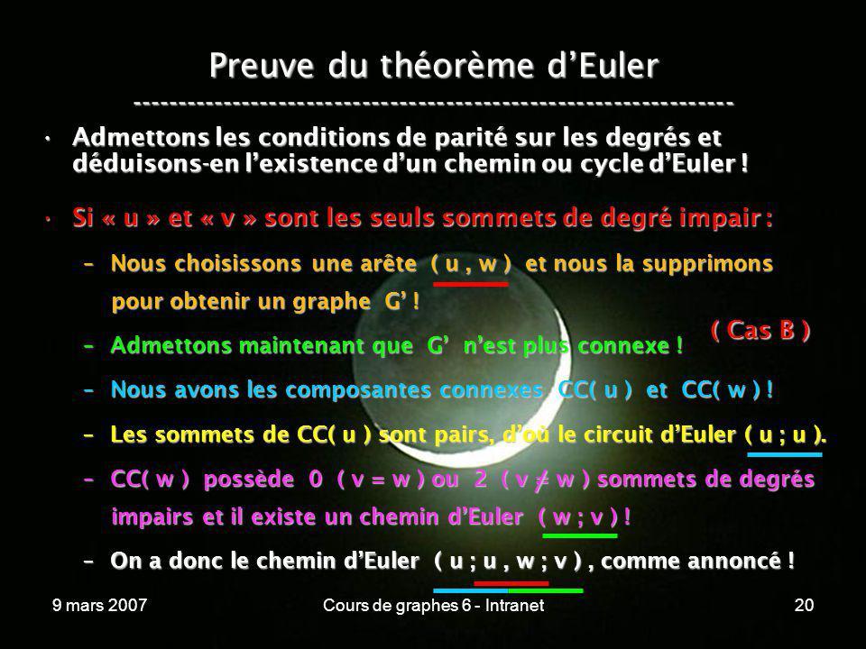 9 mars 2007Cours de graphes 6 - Intranet20 Preuve du théorème dEuler ----------------------------------------------------------------- Admettons les c