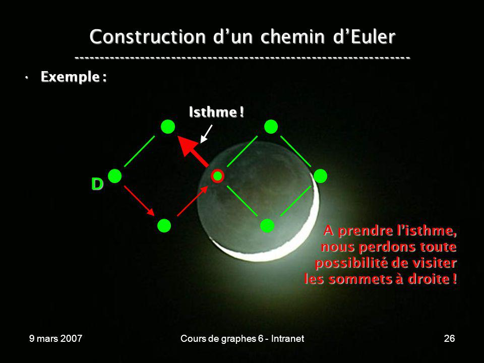 9 mars 2007Cours de graphes 6 - Intranet26 Construction dun chemin dEuler ----------------------------------------------------------------- Exemple :E