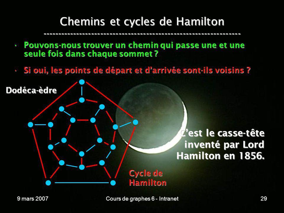 9 mars 2007Cours de graphes 6 - Intranet29 Chemins et cycles de Hamilton ----------------------------------------------------------------- Pouvons-nou