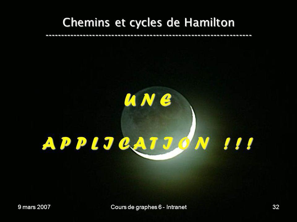9 mars 2007Cours de graphes 6 - Intranet32 Chemins et cycles de Hamilton ----------------------------------------------------------------- U N E A P P