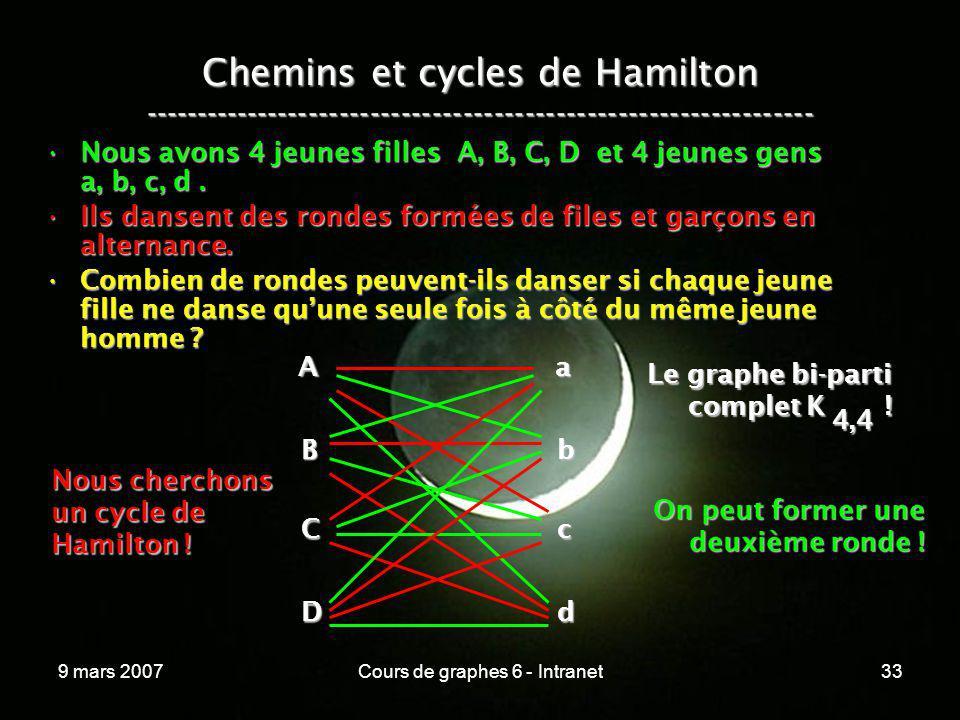 9 mars 2007Cours de graphes 6 - Intranet33 Chemins et cycles de Hamilton ----------------------------------------------------------------- Nous avons