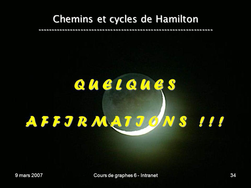9 mars 2007Cours de graphes 6 - Intranet34 Chemins et cycles de Hamilton ----------------------------------------------------------------- Q U E L Q U