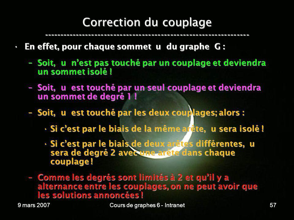 9 mars 2007Cours de graphes 6 - Intranet57 Correction du couplage ----------------------------------------------------------------- En effet, pour cha
