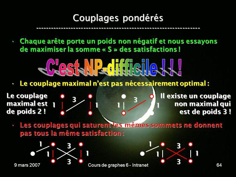 9 mars 2007Cours de graphes 6 - Intranet64 1 Couplages pondérés ----------------------------------------------------------------- Chaque arête porte u