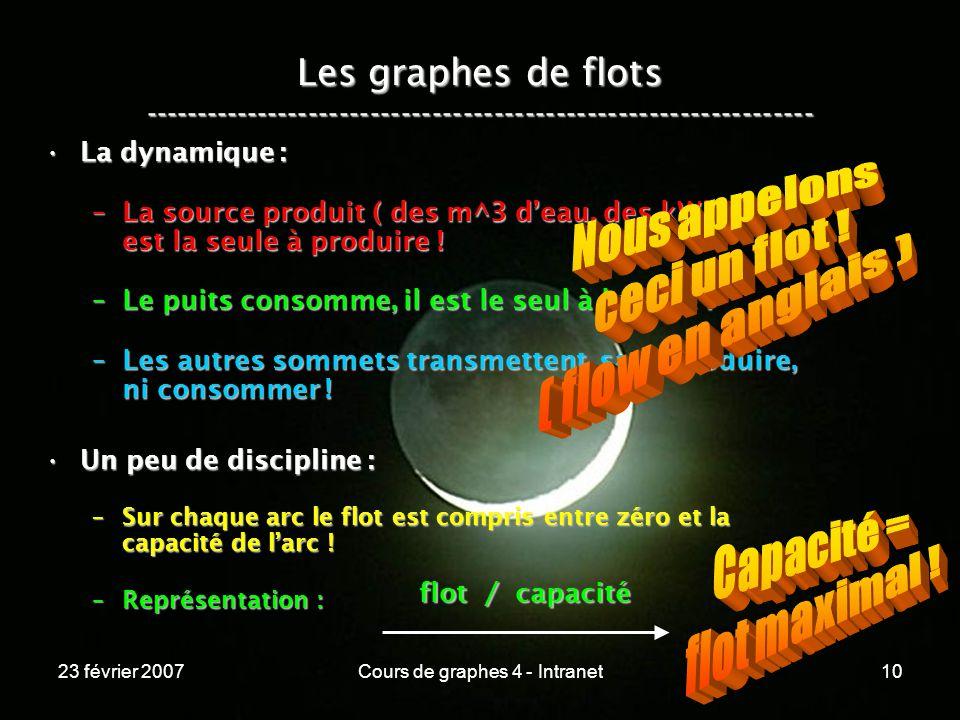 23 février 2007Cours de graphes 4 - Intranet10 Les graphes de flots ----------------------------------------------------------------- La dynamique :La dynamique : –La source produit ( des m^3 deau, des kWh ), elle est la seule à produire .