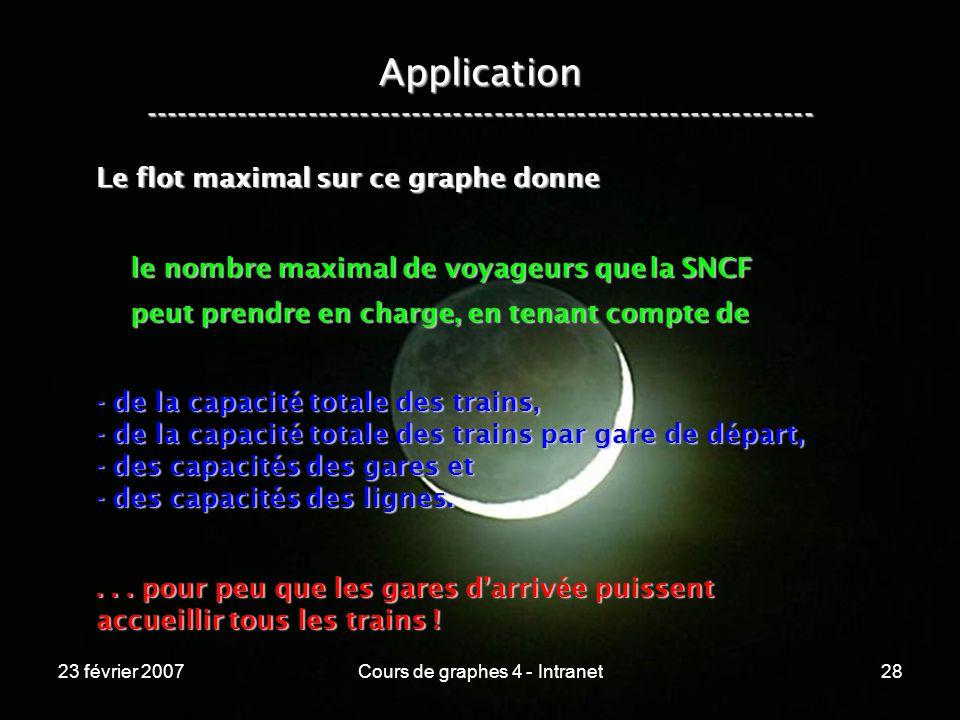 23 février 2007Cours de graphes 4 - Intranet28 Application ----------------------------------------------------------------- Le flot maximal sur ce graphe donne le nombre maximal de voyageurs que la SNCF le nombre maximal de voyageurs que la SNCF peut prendre en charge, en tenant compte de peut prendre en charge, en tenant compte de - de la capacité totale des trains, - de la capacité totale des trains par gare de départ, - des capacités des gares et - des capacités des lignes....