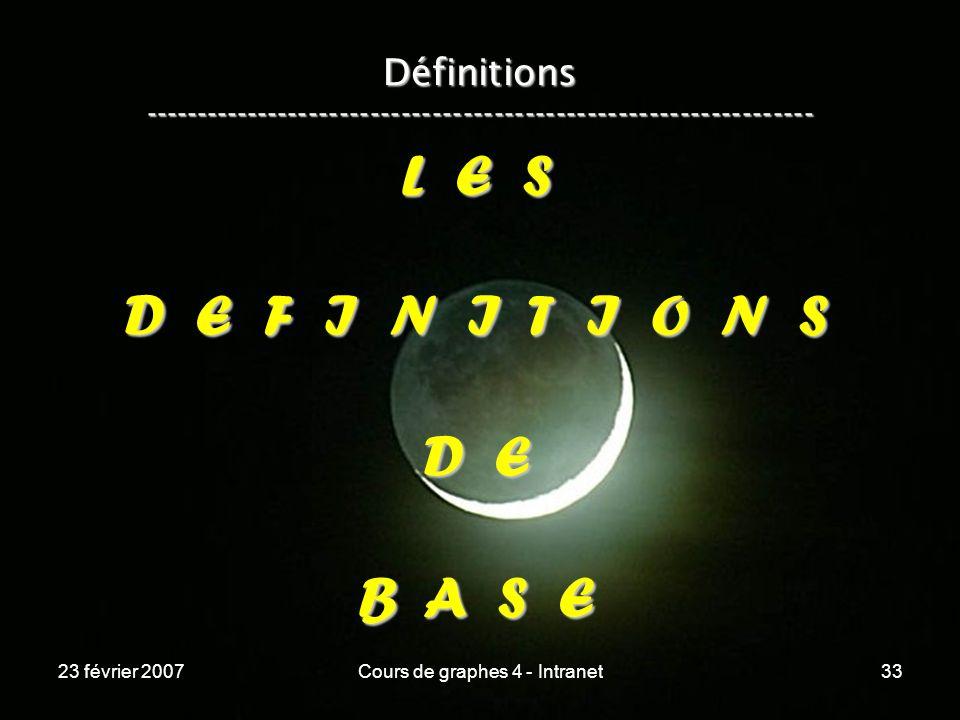 23 février 2007Cours de graphes 4 - Intranet33 Définitions ----------------------------------------------------------------- L E S D E F I N I T I O N S D E B A S E