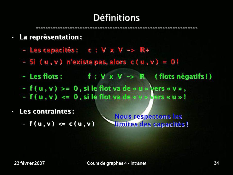 23 février 2007Cours de graphes 4 - Intranet34 La représentation :La représentation : –Les capacités : c : V x V - > R+ –Si ( u, v ) nexiste pas, alors c ( u, v ) = 0 .