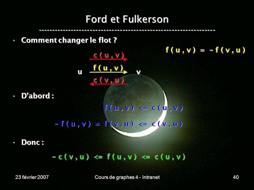 23 février 2007Cours de graphes 4 - Intranet40 Ford et Fulkerson ----------------------------------------------------------------- Comment changer le flot Comment changer le flot .