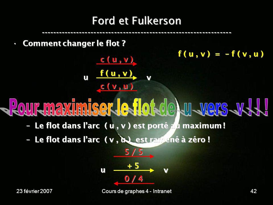 23 février 2007Cours de graphes 4 - Intranet42 Ford et Fulkerson ----------------------------------------------------------------- Comment changer le flot Comment changer le flot .