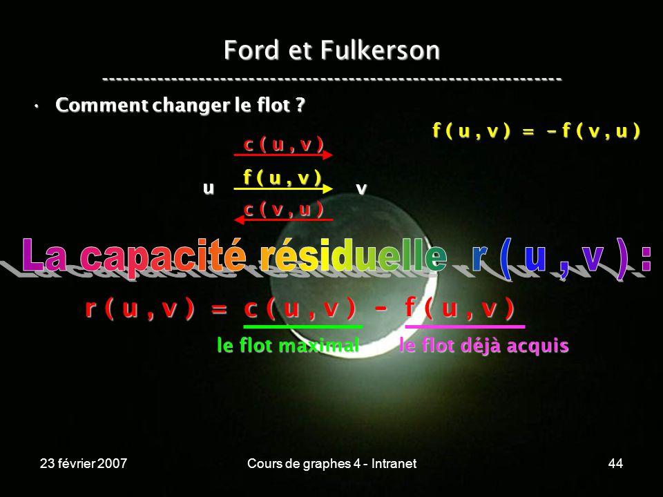23 février 2007Cours de graphes 4 - Intranet44 Ford et Fulkerson ----------------------------------------------------------------- Comment changer le flot Comment changer le flot .