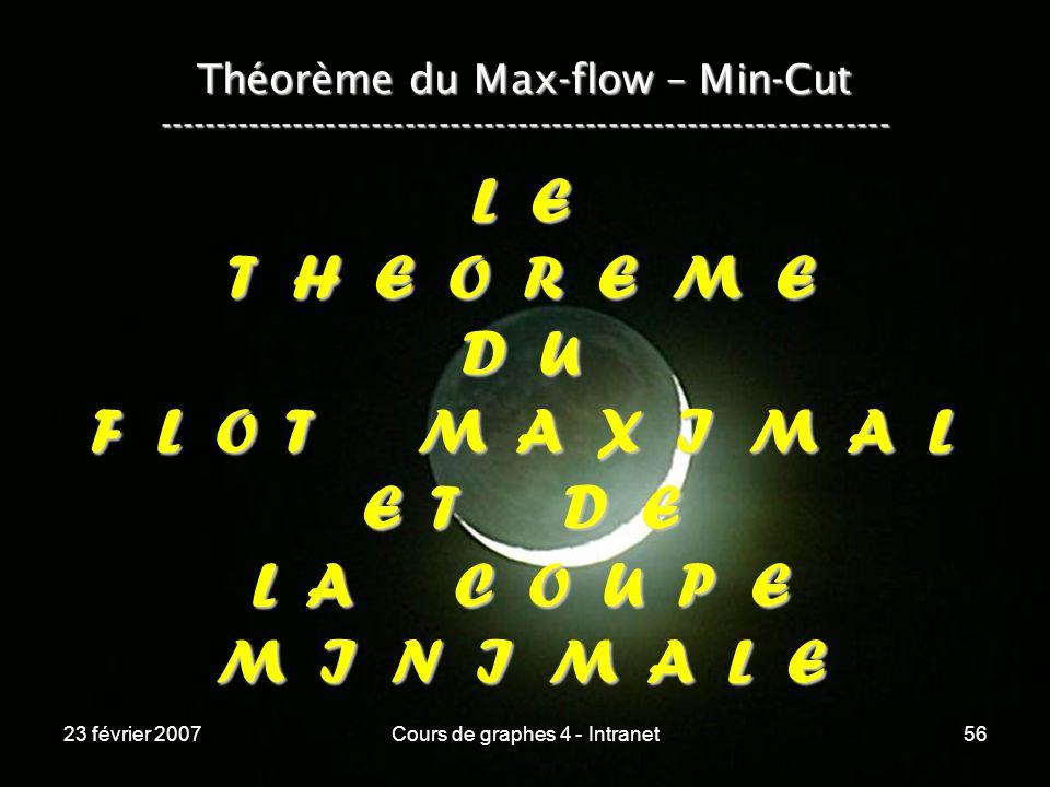 23 février 2007Cours de graphes 4 - Intranet56 Théorème du Max-flow – Min-Cut ----------------------------------------------------------------- L E T H E O R E M E D U F L O T M A X I M A L E T D E L A C O U P E M I N I M A L E