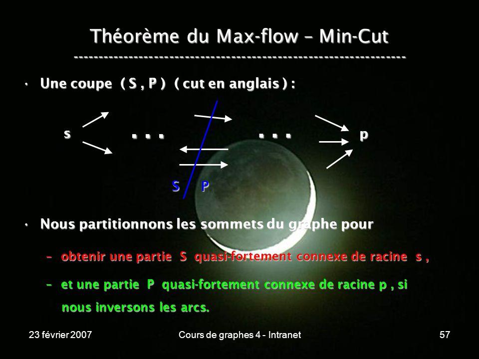 23 février 2007Cours de graphes 4 - Intranet57 Théorème du Max-flow – Min-Cut ----------------------------------------------------------------- Une coupe ( S, P ) ( cut en anglais ) :Une coupe ( S, P ) ( cut en anglais ) : Nous partitionnons les sommets du graphe pourNous partitionnons les sommets du graphe pour –obtenir une partie S quasi-fortement connexe de racine s, –et une partie P quasi-fortement connexe de racine p, si nous inversons les arcs.