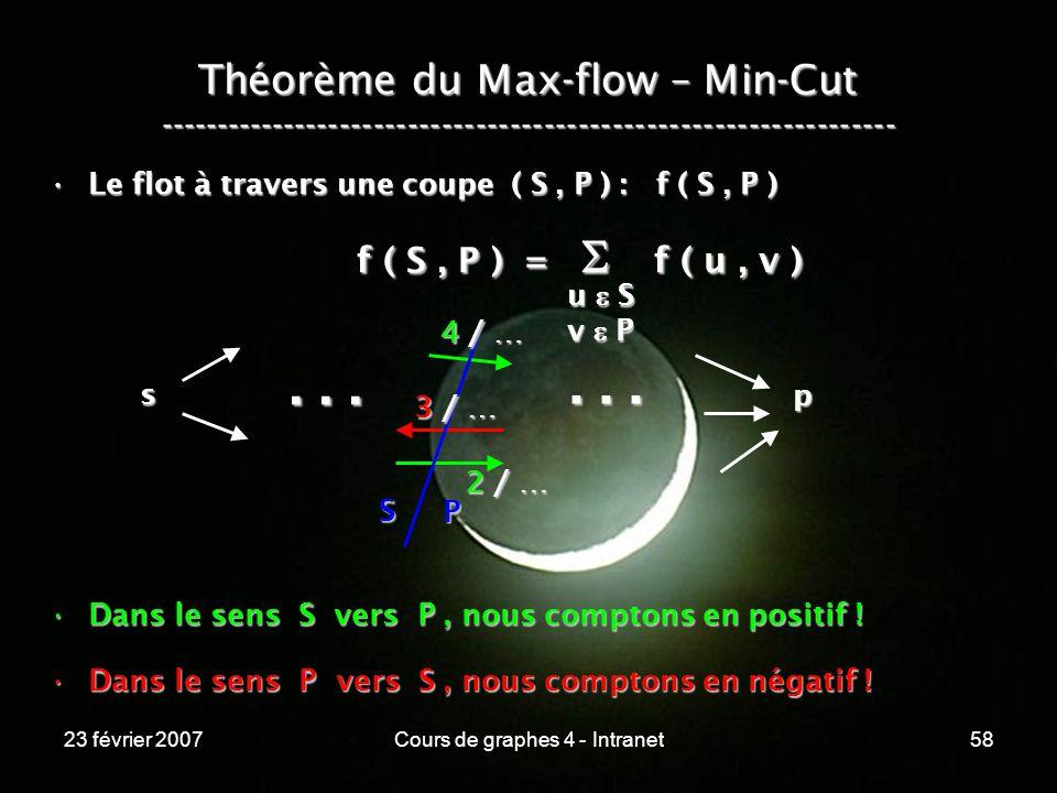 23 février 2007Cours de graphes 4 - Intranet58 Théorème du Max-flow – Min-Cut ----------------------------------------------------------------- Le flot à travers une coupe ( S, P ) : f ( S, P )Le flot à travers une coupe ( S, P ) : f ( S, P ) f ( S, P ) = f ( u, v ) f ( S, P ) = f ( u, v ) Dans le sens S vers P, nous comptons en positif !Dans le sens S vers P, nous comptons en positif .