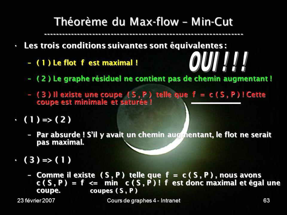 23 février 2007Cours de graphes 4 - Intranet63 Théorème du Max-flow – Min-Cut ----------------------------------------------------------------- Les trois conditions suivantes sont équivalentes :Les trois conditions suivantes sont équivalentes : –( 1 ) Le flot f est maximal .