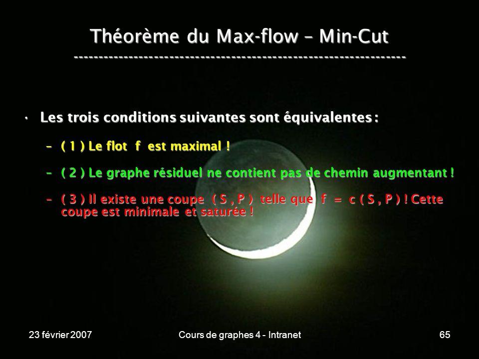 23 février 2007Cours de graphes 4 - Intranet65 Théorème du Max-flow – Min-Cut ----------------------------------------------------------------- Les trois conditions suivantes sont équivalentes :Les trois conditions suivantes sont équivalentes : –( 1 ) Le flot f est maximal .