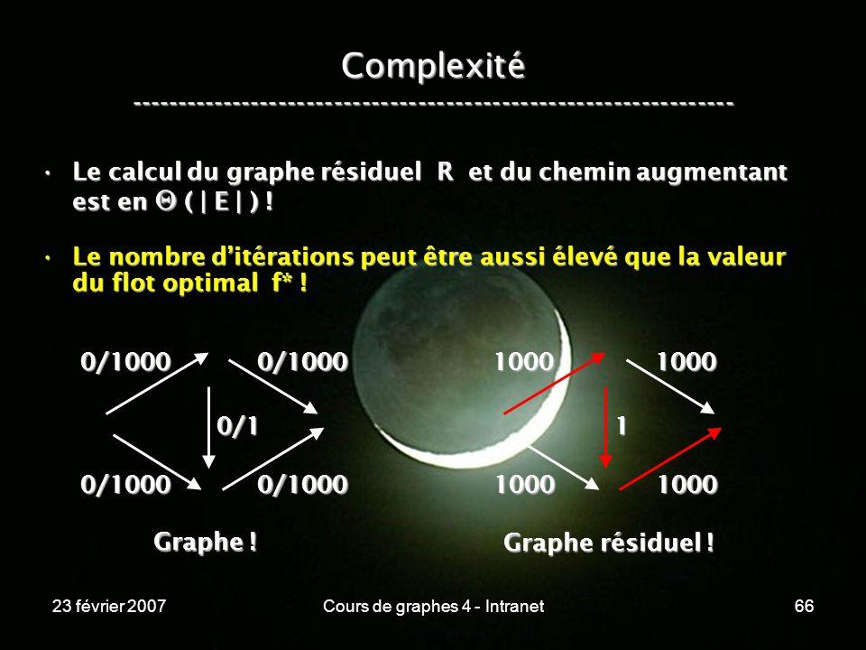 23 février 2007Cours de graphes 4 - Intranet66 Complexité ----------------------------------------------------------------- Le calcul du graphe résiduel R et du chemin augmentant est en ( | E | ) !Le calcul du graphe résiduel R et du chemin augmentant est en ( | E | ) .